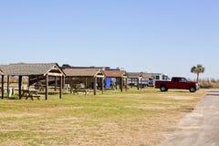 Tältplats på stranden Royaltyfria Foton
