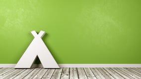 Tältsymbol på trägolv mot väggen Arkivbilder