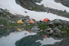 Tältturister Fotografering för Bildbyråer