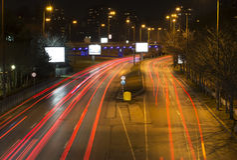 tänd natttrails Fotografering för Bildbyråer