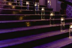 Tänd stege med stearinljus fotografering för bildbyråer