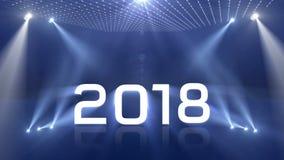 Tända blått för lyckligt nytt år 2018 arkivfilmer