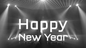 Tända det akromatiska lyckliga nya året 2018 stock video