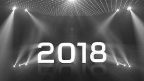 Tända det akromatiska lyckliga nya året 2018 arkivfilmer