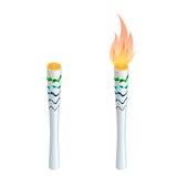 Tända eld på brand, mästerskapsymbolen, ett symbol av segern Isolerad vektorillustration Stock Illustrationer