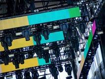 Tända och solid utrustning på musikfestivalen arkivfoton