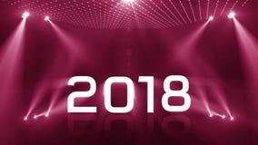 Tända rosa färger för nytt år 2018 stock video