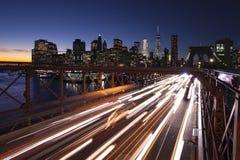 Tända trafik i New York City royaltyfri fotografi