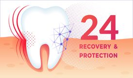 Tänder att bry sig affischen med den enorma sunda tanden i gummi stock illustrationer