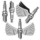 Tändstift med änglalika vingvektorobjekt Vektor Illustrationer