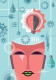 Tänka av makt, illustration med kugghjulet Royaltyfri Foto