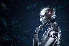 Tänka för Ai-robot royaltyfri illustrationer