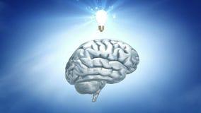 Tänka för blå himmel: hjärna och lightbulb royaltyfri illustrationer