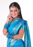 tänka för sari för uttrycksflicka indiskt Arkivbild