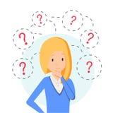 Tänkande anseende för affärskvinna under frågefläckar Ungt caucasian tänka för affärskvinna Tänkande affärskvinna royaltyfri illustrationer