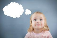 Tänkande barn för idé Arkivbilder