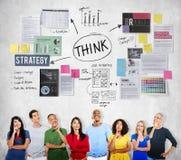 Tänkande begrepp för beslutsamhetinspirationplanläggning royaltyfria bilder