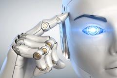 Tänkande cyborg close upp vektor illustrationer