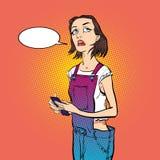 Tänkande flicka tänka för chef Flicka som löser ett problem Royaltyfri Bild