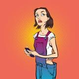 Tänkande flicka tänka för chef Flicka som löser ett problem Royaltyfri Fotografi
