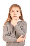 Tänkande gullig schoolgirl Arkivbilder