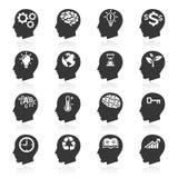 Tänkande huvudsymboler för affär. Royaltyfri Bild