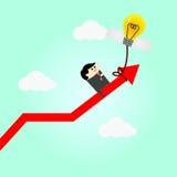 Tänkande idé gjord högre affär för affärsman Arkivfoto