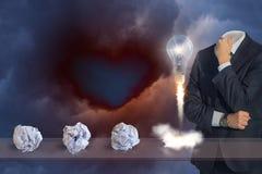 Tänkande illustrationer med tecknet för ljus kula royaltyfria bilder