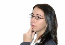 tänkande kvinna för affär Royaltyfri Fotografi