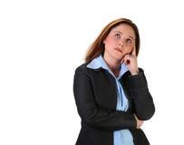 tänkande kvinna för affär Arkivbild
