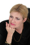 tänkande kvinna för affärsledare Arkivfoto