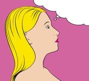 Tänkande kvinna för Popkonst Arkivfoto