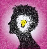 Tänkande person med lightbulbidé Royaltyfria Bilder