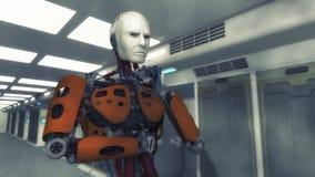 Tänkande robot och futuristisk inre Royaltyfri Bild