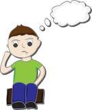 Tänkande tecknad film för pojke Royaltyfri Bild