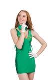 Tänkande ung härlig flicka i grön klänning Royaltyfria Foton