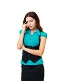 Tänkande ung kvinna och bekymmer Arkivfoton