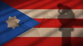 Tänkareskugga på puertoen Rico Flag och betongväggen Arkivbilder