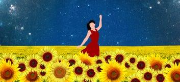 Tänzer auf einem Sonnenblumengebiet im roten Kleid Stockfotos