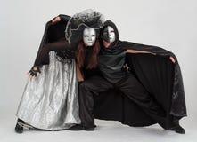 Tänzer in den Kostümen und in den Schablonen Stockbild