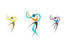 Tänzerlogo, Wellnessballerinasatz, Ballettillustration, Eignung, Tänzer, Sport, Leutenatur Stockfotografie