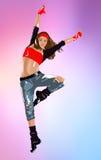 Tänzerspringen der jungen Frau stock abbildung