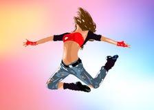 Tänzerspringen der jungen Frau vektor abbildung