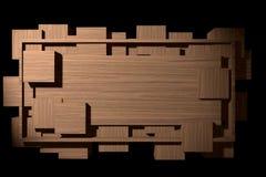 Tärnat Wood baner med ramen och stock illustrationer