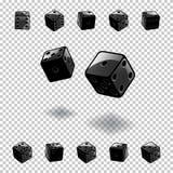 Tärning som spelar mallen Svartkuber i olika positioner på genomskinlig bakgrund också vektor för coreldrawillustration Royaltyfri Foto