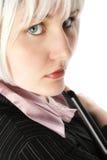 tät övre kvinna för affär Arkivfoto