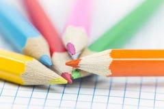 tät färg pencils upp Royaltyfri Fotografi