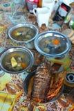tät fisk skjuten soup upp Royaltyfri Foto