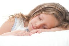 tät flicka som sovar sött upp Arkivfoto