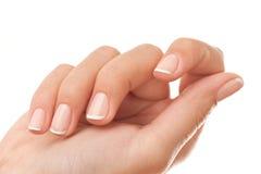 tät fransk manicure upp royaltyfri foto